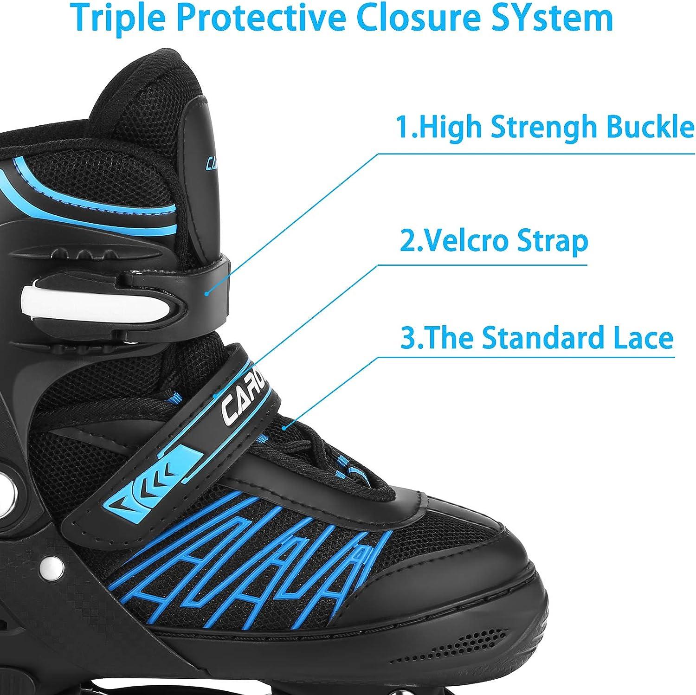 Caroma Adjustable Inline Skates,Roller Skates for Kids,Indoor/&Outdoor Roller Blades with Full Light Up Wheels,Fun Flashing Beginner Inline Skates for Girls and Boys Men and Women