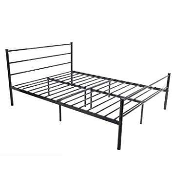 metal bed frame full size greenforest 10 legs mattress foundation two headboards black platform bed
