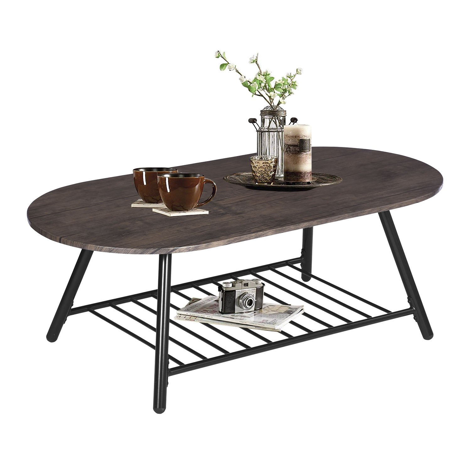 Amazon com coffee table wooden industrial feel round cocktail table with lower metal frame vintage for living room bedroom home and office walnut kitchen