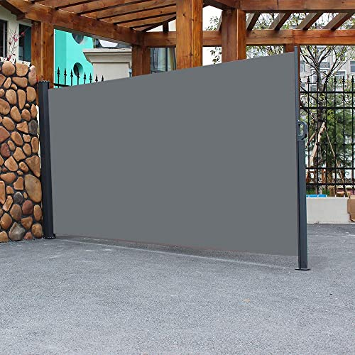 Henf Retractable Privacy Fence, Side Awning Screen Patio Privacy Divider Wall, Outdoor Patio Screen with Aluminum Support Pole, 118 L X 63 W, Dark Gray