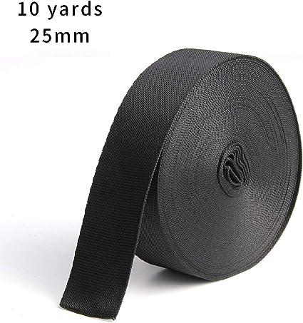 Bujingyun 1 cm de Ancho Negro Nylon Pesado Correas, 10 m, Black-25MM: Amazon.es: Deportes y aire libre