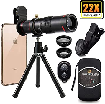 Bamoer Kit de Lentes móviles, Lente telefoto 22x+Lente Ancha 0.63 ...