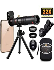 Cell Phone Camera Lens,Phone Photography Kit-Flexible Phone Tripod +Remote Shutter +4 in 1 Lens Kit-High Power 22X Monocular Telephoto Lens, Fisheye, Macro & Wide Angle Lens for Smartphone