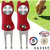 kaveno Golf Divot Repair Tool, Foldable Magnetic Pop-up Button Stainless Steel Switchblade & Detachable Golf Ball Marker