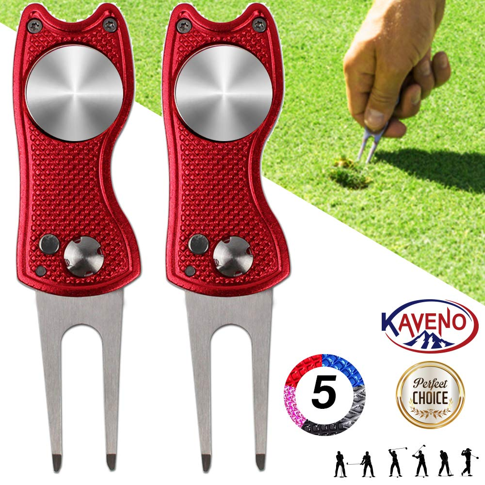 kaveno Golf Divot Repair Tool, Foldable Magnetic Pop-up Button Stainless Steel Switchblade & Detachable Golf Ball Marker (Red Fish 2 Sets) by kaveno