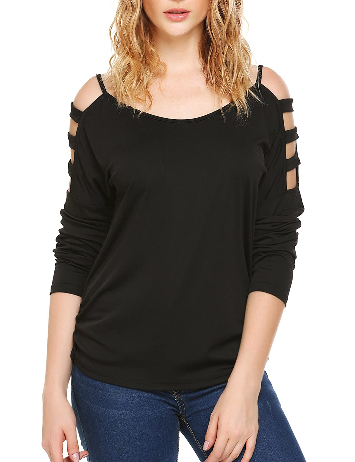 Women's Casual Loose Hollowed Out Shoulder Long Sleeve Tops Shirts