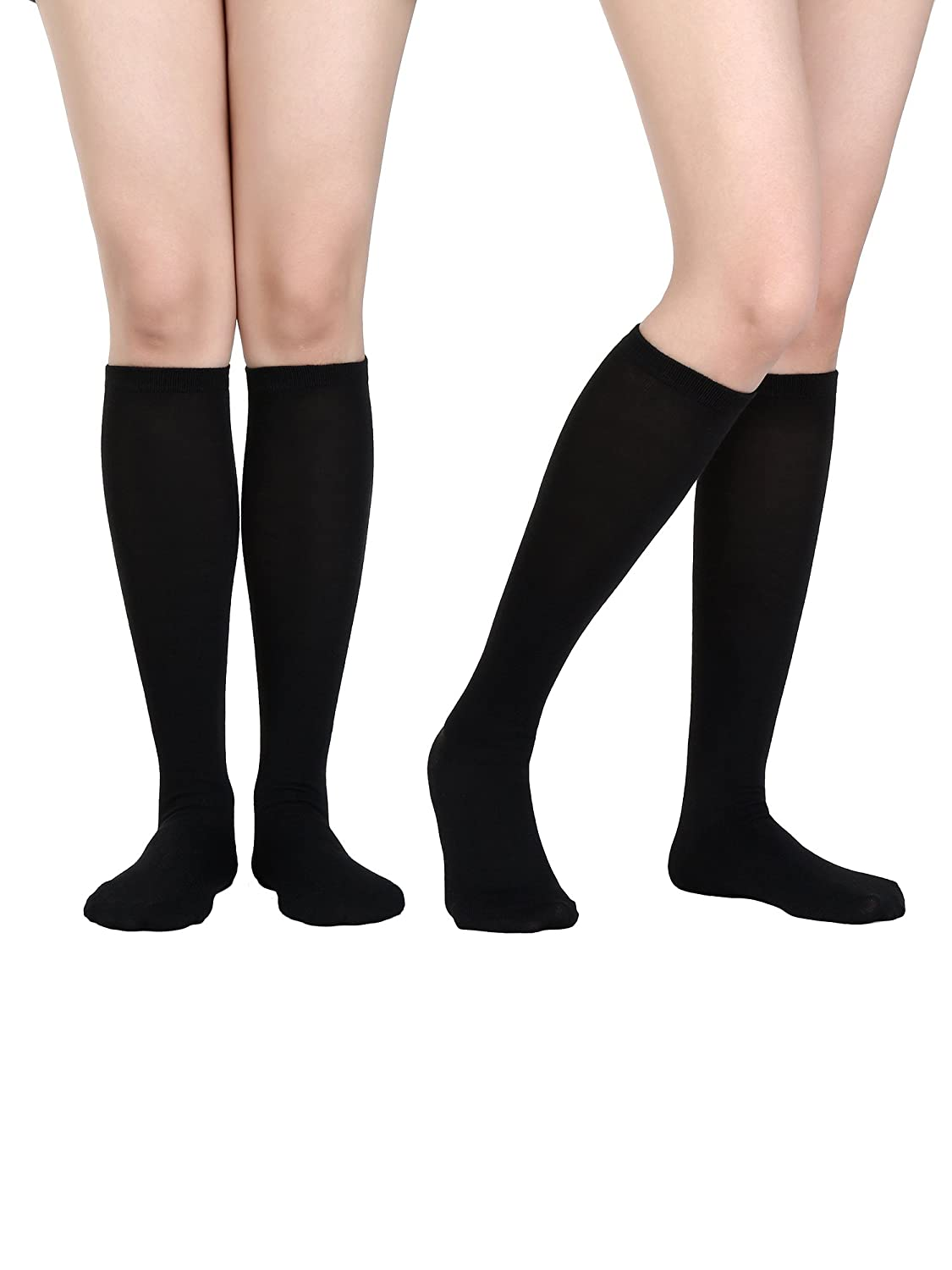 Satinior Women Knee High Socks Soft Boot Socks Cosplay Socks for Party, Halloween, School, One Size One Size (Black 1 Pack)