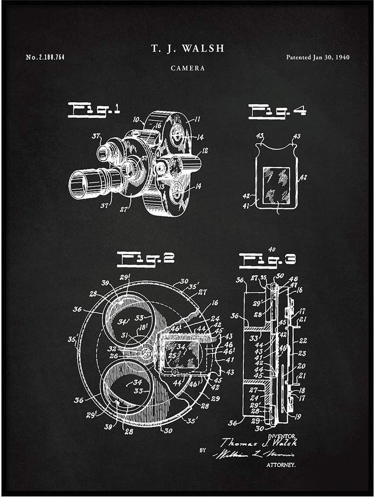 Movie Camera Patent Print 1940, Art Poster Print, Cameraman Gifts, Home Theater Decor, Film Camera Blueprint, Film Making Poster, QP715