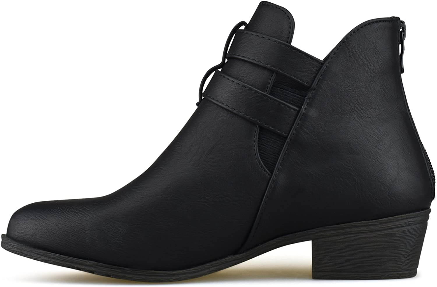 Womens Strappy Buckle Closed Toe Ankle Bootie Low Heel Casual Comfortable Walking Boot Premier Standard