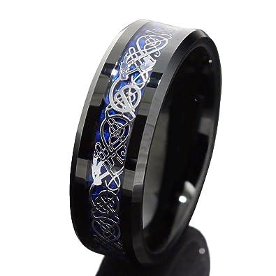 Queenwish Verlobungsring 8mm Silber Drache & Blau Kohlefaser Rille