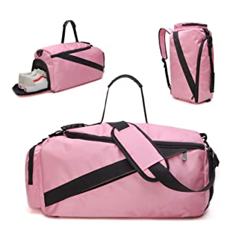 tuokener Sports Duffel Bag Nylon Medium with Shoes Compartment and Shoulder  Strap for Women and Girls 3baa48282748d