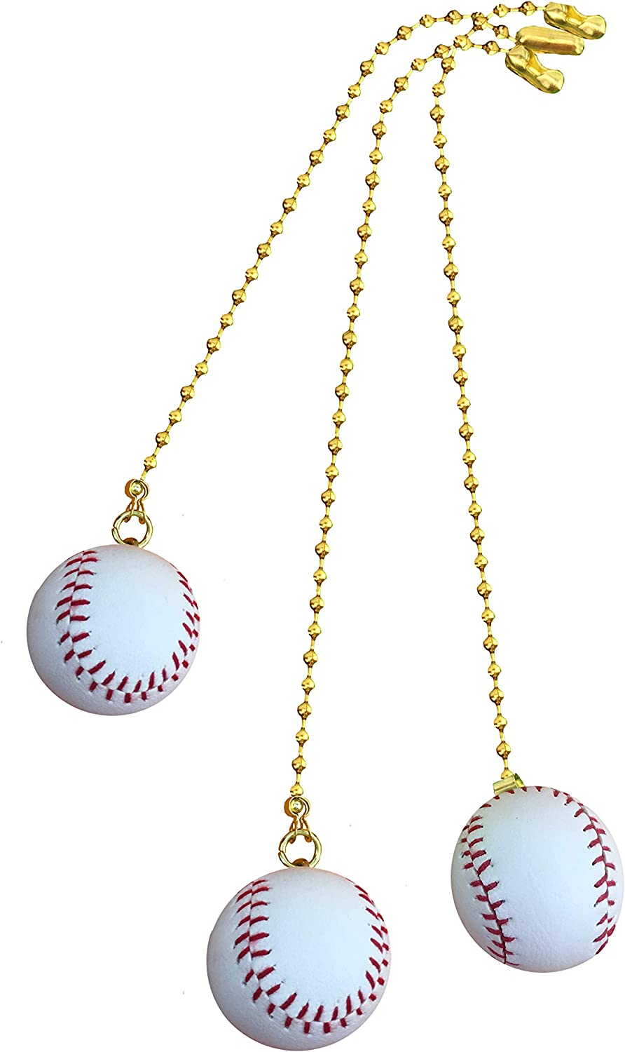Decorative Sports Baseball Ceiling Fan Pull with beaded chain - 3 pack- FA120 for bedroom, Nursery, kids room, Den