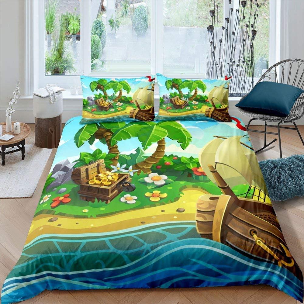 Erosebridal Sailboat Duvet Cover Nautical Pirate Theme Bedding Set Palm Tree Island Treasure Comforter Cover Hawaiian Beach Cartoon Bedspreads Cover Child Room Decor with 2 Pillow Cases Full Size