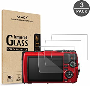 (Pack of 3) Tempered Glass Screen Protector for Olympus Tough TG-5 TG-4 TG-3, AKWOX [0.3mm 2.5D High Definition 9H] Anti-Scratch Optical LCD Premium Protective Cover