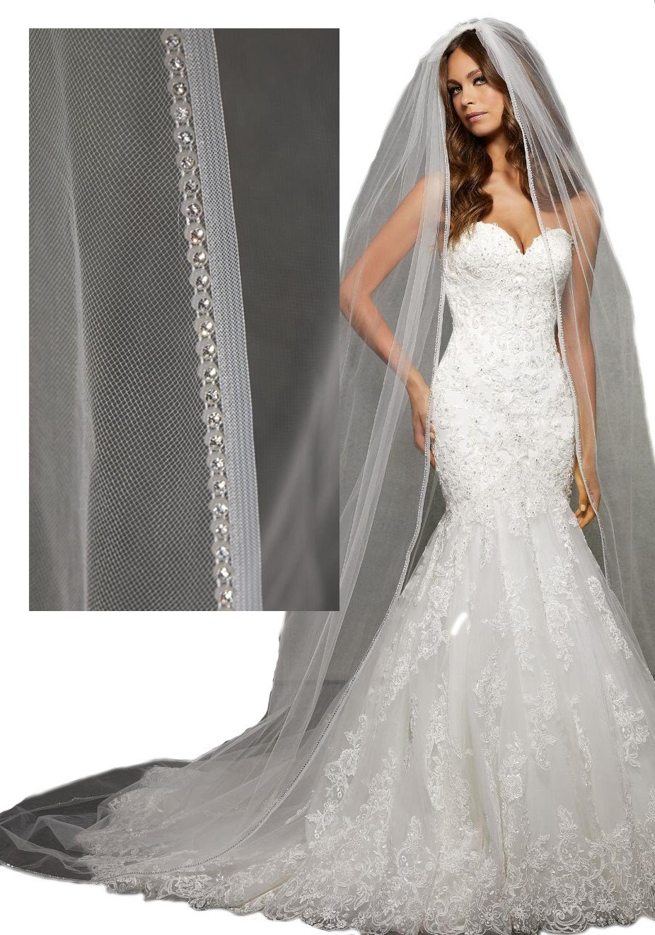 Passat Pale Ivory Single-Tier 3M Cathedral Wedding Bridal Veil Edged with Narrow Horsehair and Rhinestones VL1058 by Passat
