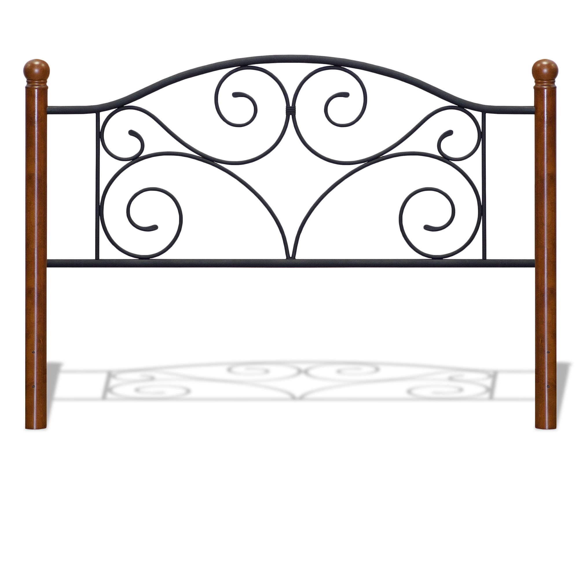 Fashion Bed Group Doral Headboard with Dark Walnut Wood Posts and Metal Grill, Matte Black Finish, Twin
