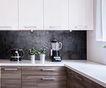 Küchenrückwand Schwarze Wand Nischenrückwand Spritzschutz Design ...