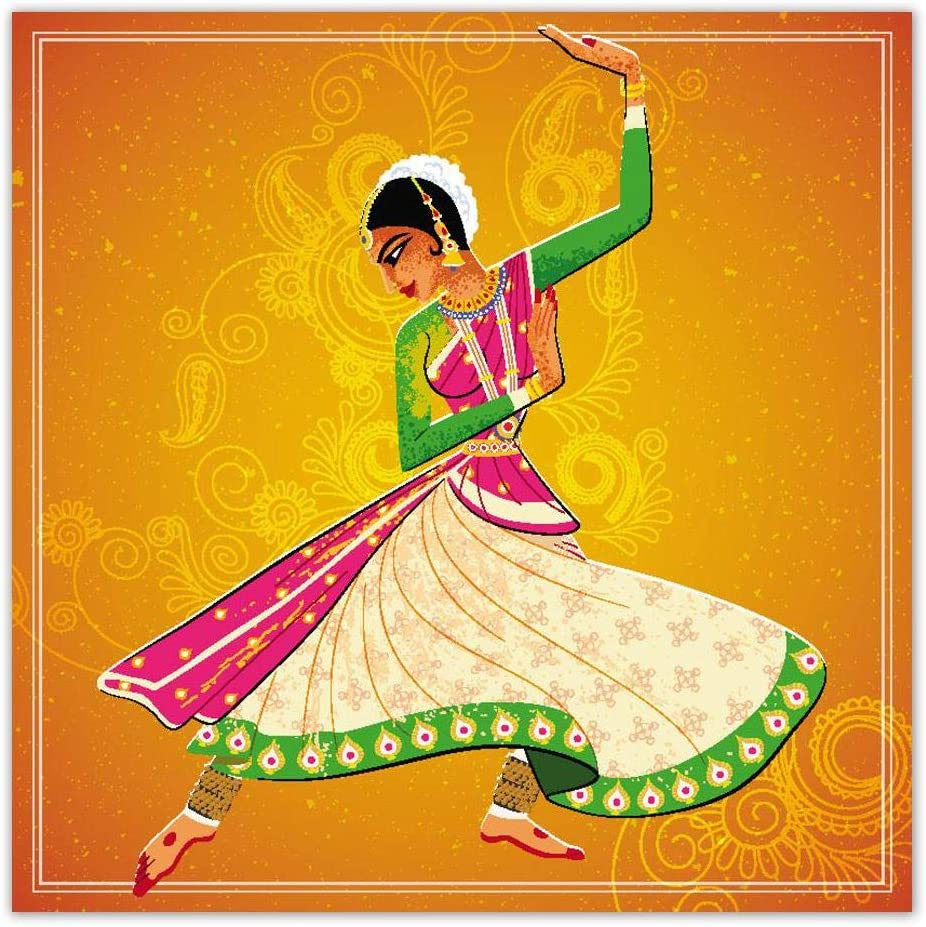 Amazon Com 999store Unframed Large Printed Woman Performing Kathak Classical Dance Canvas Painting 150x150cms Posters Prints