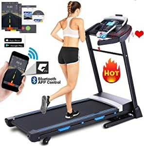 ANCHEER Treadmill, 3.25HP Folding Treadmills for Home with APP Control and Automatic Incline, Running Walking Jogging Machine for Home/Office/Gym Cardio Use