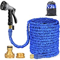 BALABA Expandable Garden Water Hose Pipe 100FT / 3 Times Expanding Flexible Magic Lightweight with 8 Function Spray Gun & Solid Brass Fittings/Anti-leakage Lightweight Easy Storage(Blue)