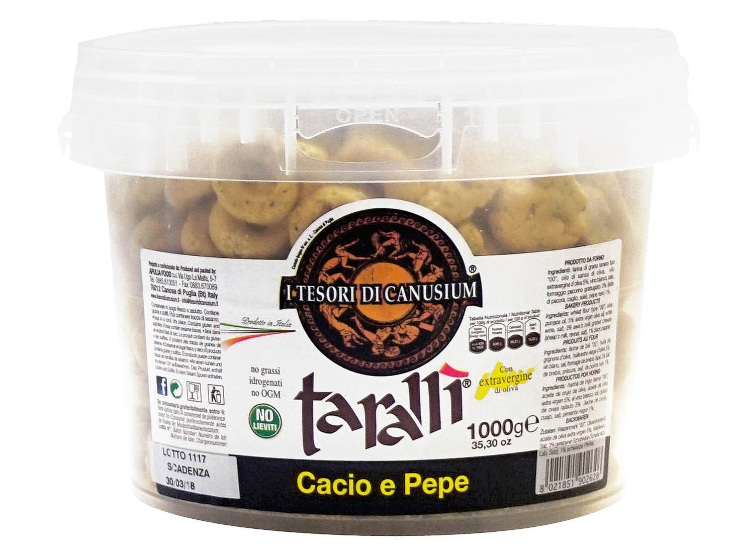 I Tesori di Canusium: ''Cacio e Pepe'' Italian Taralli, Cheese and Pepper Taste - 35.3 Ounces (1000gr) Package [ Italian Import ]