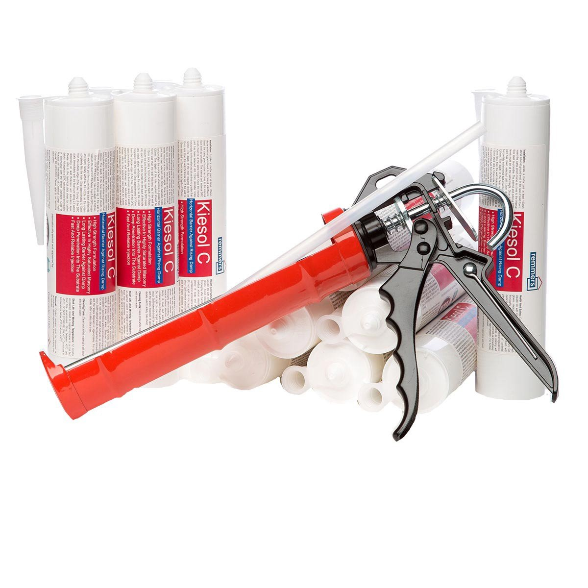 Kiesol C High Strength Damp Proof Course Injection Cream Kit (10 x 310ml cartridges + applicator + extension tube) - Rising Damp Treatment Remmers