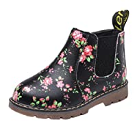 Anglewolf Children Fashion Boys Girls Martin Sneaker Boots Autumn Winter Warm Thick Baby Kids Unisex Casual Floral Printing Zipper Up Shoes Leather Snow Shoes