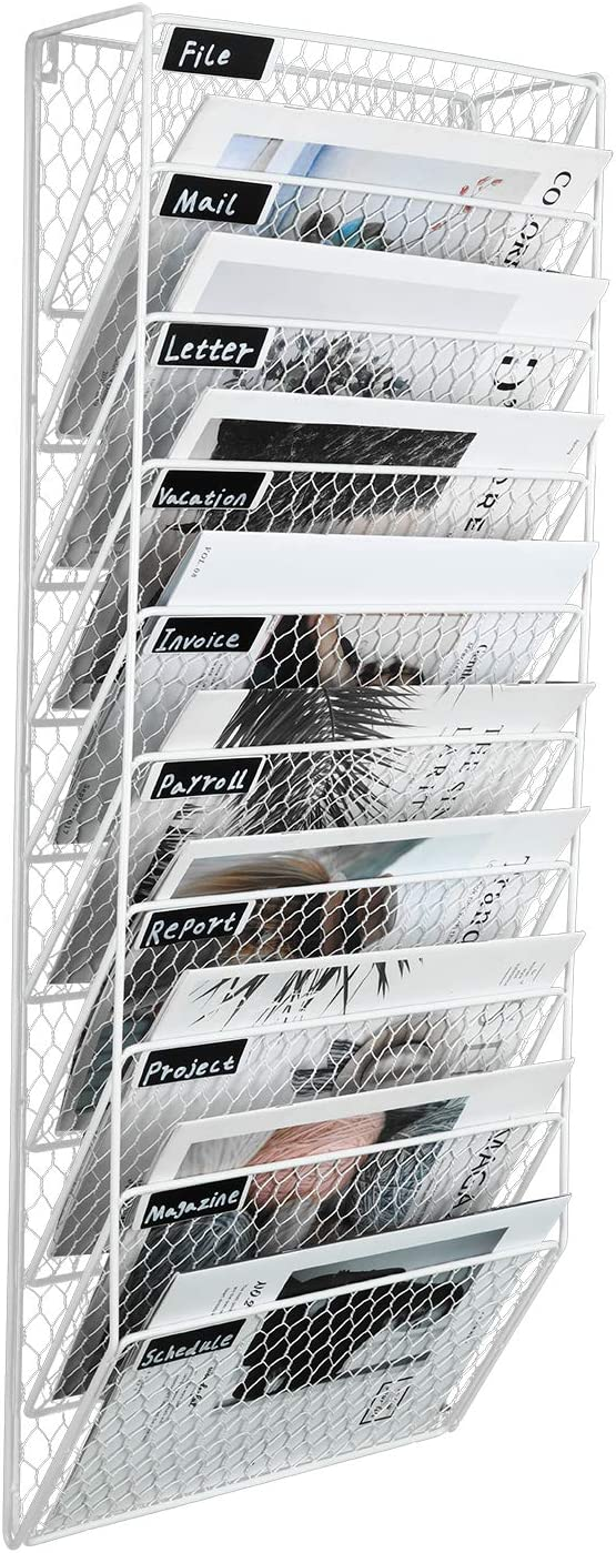 PAG 10 Pockets Wall File Holder Wall Mounted Mail Sorter Organizer Metal Chicken Wire Hanging Magazine Rack, White