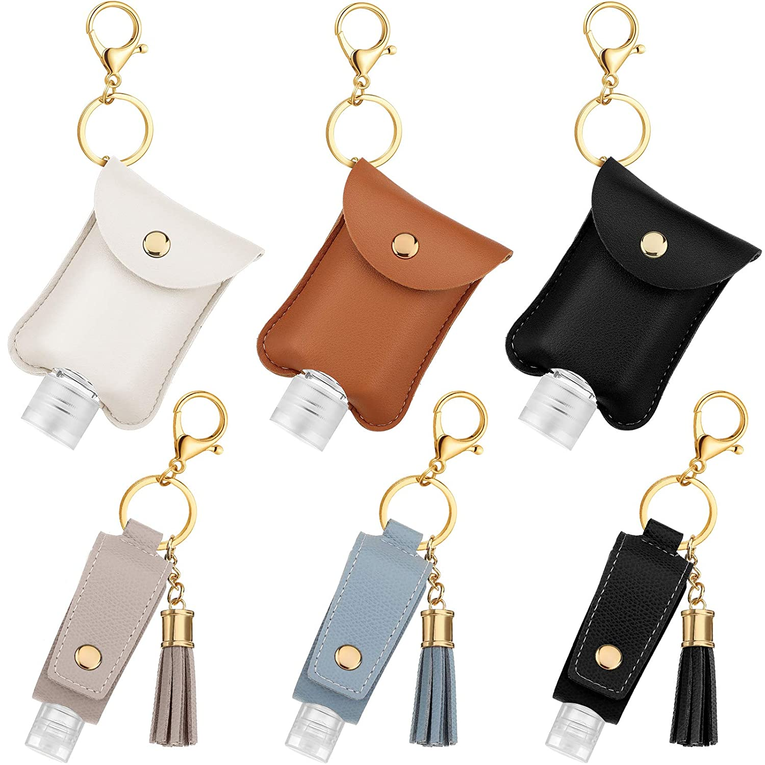 6 Set Hand Sanitizer Holder Keychain with Travel Size Bottles, Fit 30 ml and 60 ml Empty Refillable Bottles with 2 Styles Artificial Leather Holder Keychain Holder Bag for Travel Working Camping