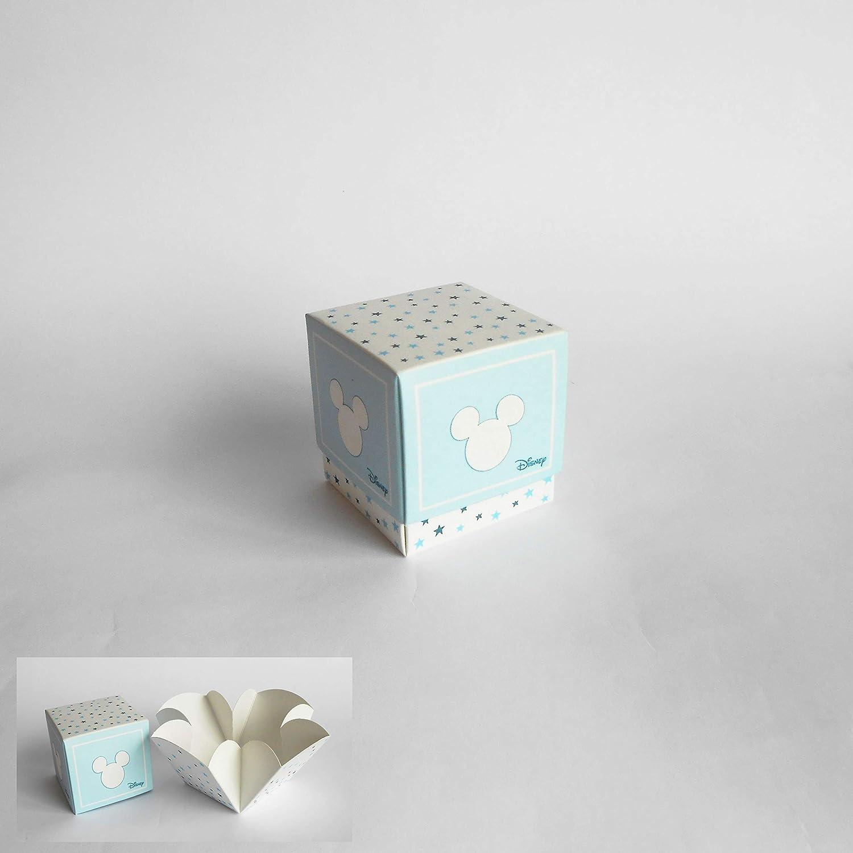 Bomboniera Scatola cubo Confetti inserto Topolino Disney Celeste set 20 pz art 68033