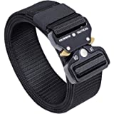 Fairwin Tactical Belt, Military Style Webbing Riggers Web Gun Belt with Heavy-Duty Quick-Release Metal Buckle (Black)