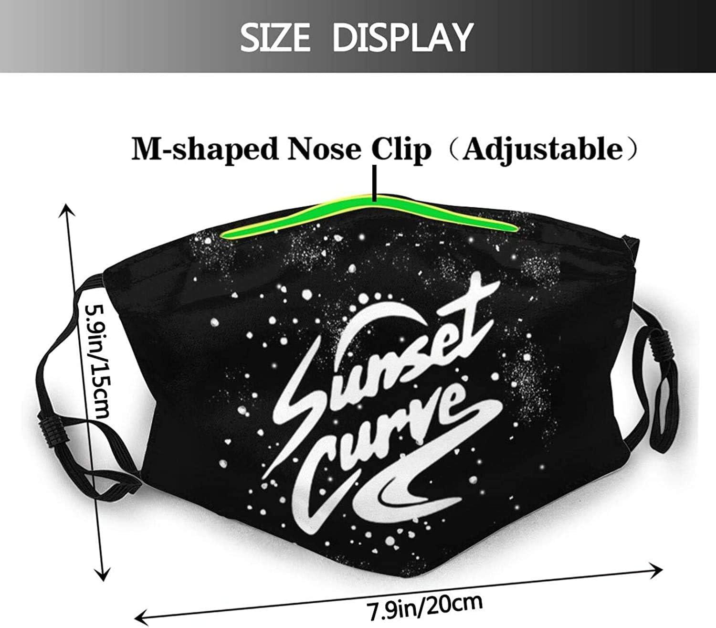 N//A Sunset Curve Logo komfortable Gesichtsbandanas und wiederverwendbare verstellbare Ohrensch/ützer Ohrb/ügel Sturmhaube schwarz