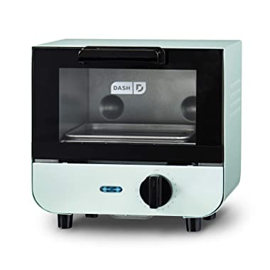 Dash DMTO100GBAQ04 Mini Toaster Oven Cooker for for Bread, Bagels, Cookies, Pizza, Paninis & More with Baking Tray, Rack, Auto Shut Off Feature, Aqua