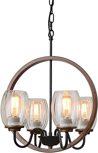 Giluta Industrial Metal Chandelier Island Pendant Lighting Kitchen Light Fixture Elegant Style Hanging Ceiling Light 4 Lights for Bedroom Dinning Room Loft Foyer with 4 Glass Shades