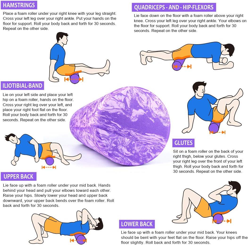 AIMERDAY Rulli di Gomma Piuma Schaumstoffrolle Muscle Massager Feste R/ückrolle f/ür Physiotherapie Balance Fitness 44cm