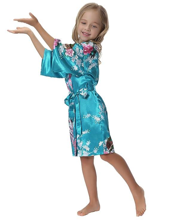 Aibrou Kimono Niñas Batas Cortos Lenceria Pavo & Flores: Amazon.es: Ropa y accesorios