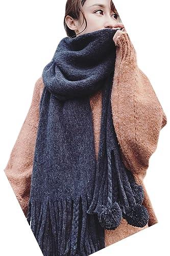 Le Donne Inverno Elegante Tartan Plain Caldo Ispessirsi Maglia Scialle Cape Coperta. Black One Size