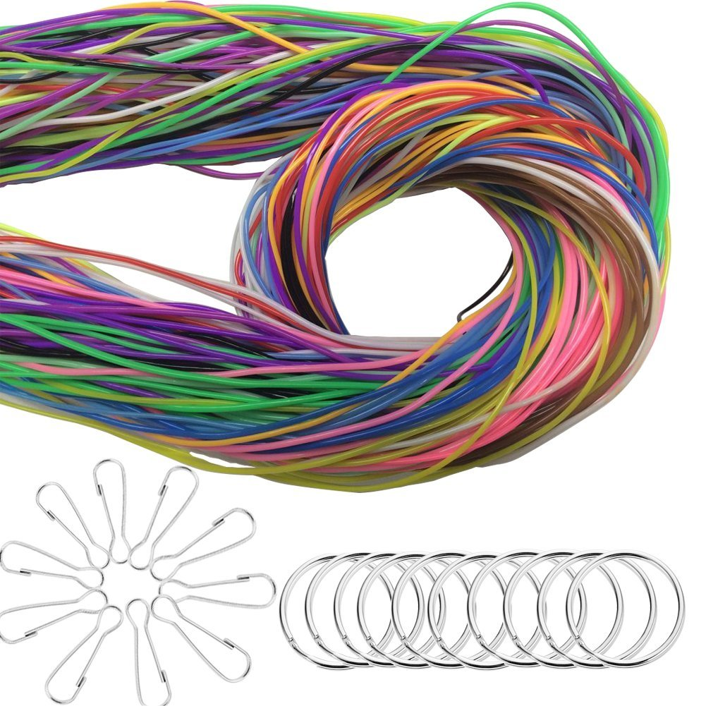RoomDiary 180pcs Plastic Lacing Cord DIY Craft Strings for Scoubidou Jewelry Making Lanyard with Snap Clip Hooks and Keychain Ring, 525ft, 16 Colors