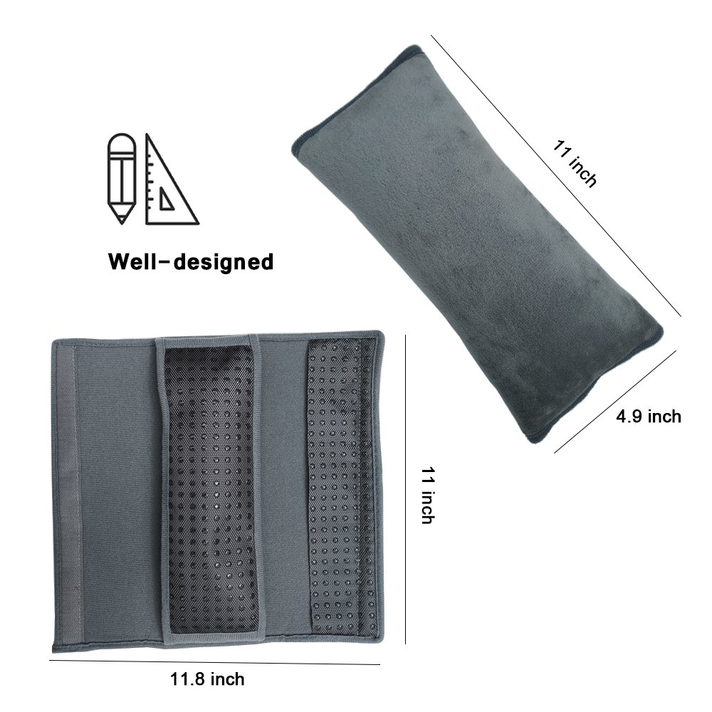 Almohadillas para Cintur/ón de Seguridad para Ni/ños TUPSKY Almohada Para Beb/é Almohadillas Protectores Cobertores Coj/ín de Viaje Fundas de Cinturones de Seguridad Hombro Gris Negro 1 paquete
