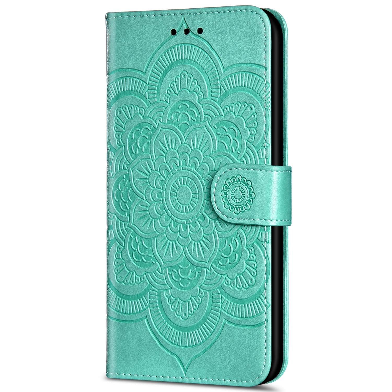 IKASEFU Compatible with iPhone 7 Plus//8 Plus Case Emboss Sun mandala Floral Pu Leather Wallet Strap Case Card Slots Shockproof Magnetic Stand Feature Folio Flip Book Cover Protective Case,Black