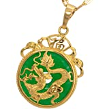 MCSAYS Chinese AAA Tibet Gold Green Jade Dragon Malay Jade Pendant Necklace Protect Your Health
