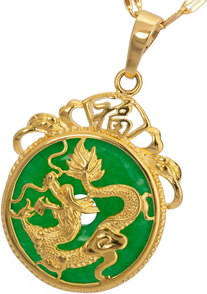 Chinese Tradition Type Pendant 14k Gold Over 925 Sterling Silver Green Jade Dragon Pattern Pendant JP001