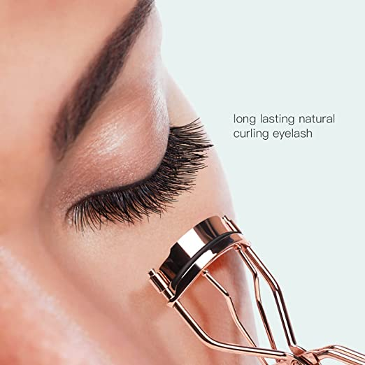174681e09c7 Amazon.com: Eyelash Curler With Refill Pad Lash Curlers Tool ULG Travel Eye  Lashes Clip Professional Stainless Steel Curled Cosmetic Makeup Accessory  Rose ...