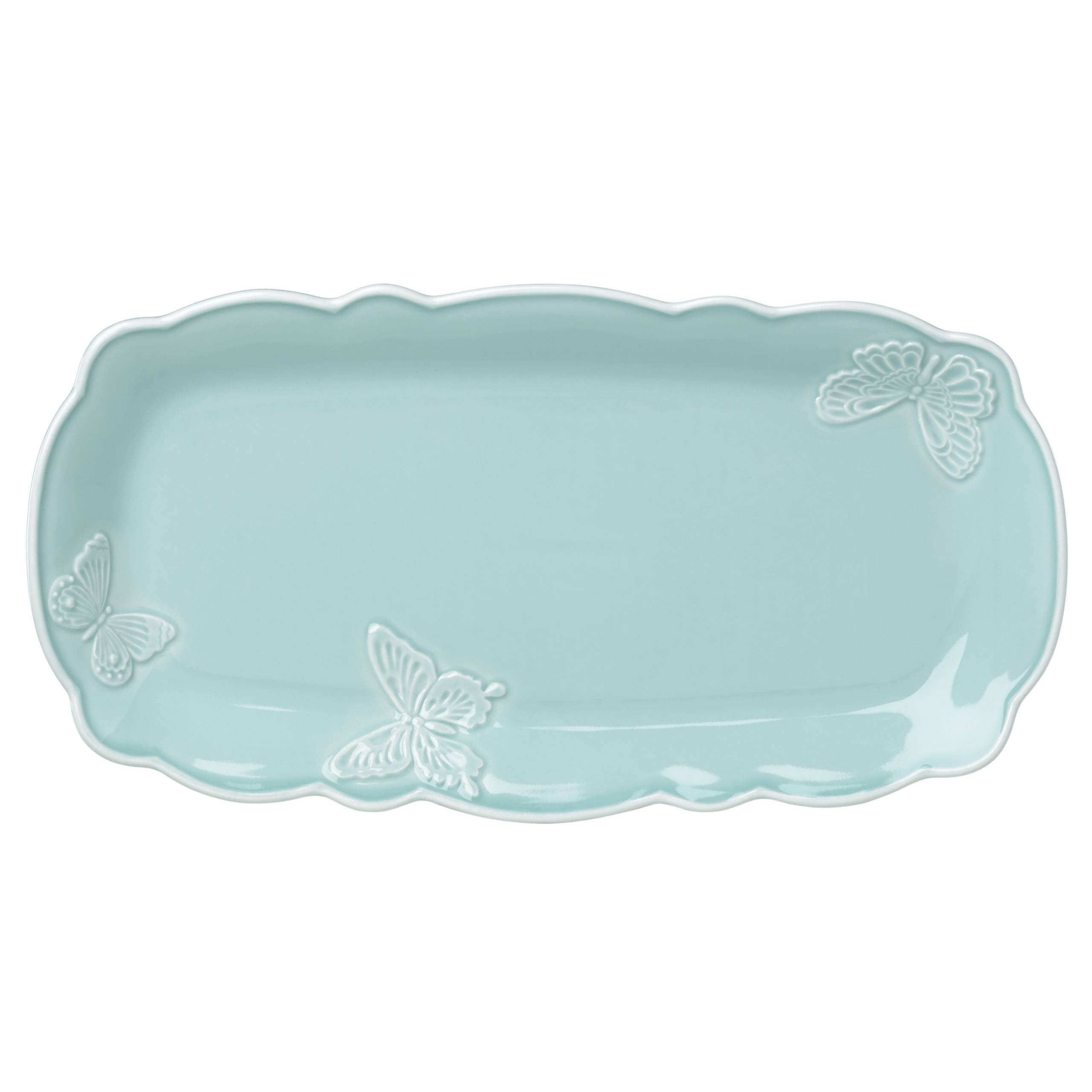 Lenox Butterfly Meadow Carved Blue Hors D 'Oeuvre Tray