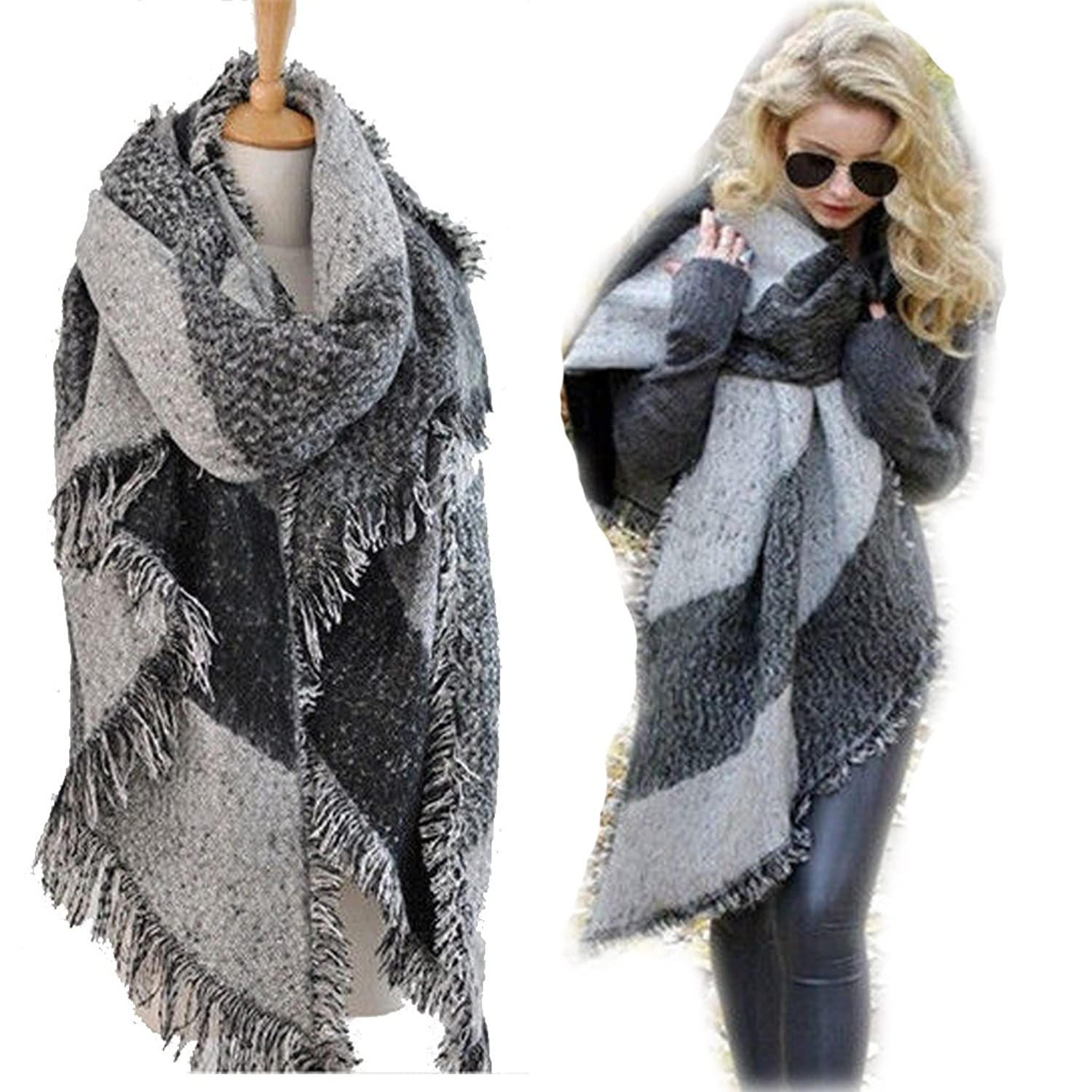 3730f6d09d4 Vincenza ® Womens Large Oversized Pashmina Wrap Poncho Thick Style Scarf  Patchwork Cape Shawl