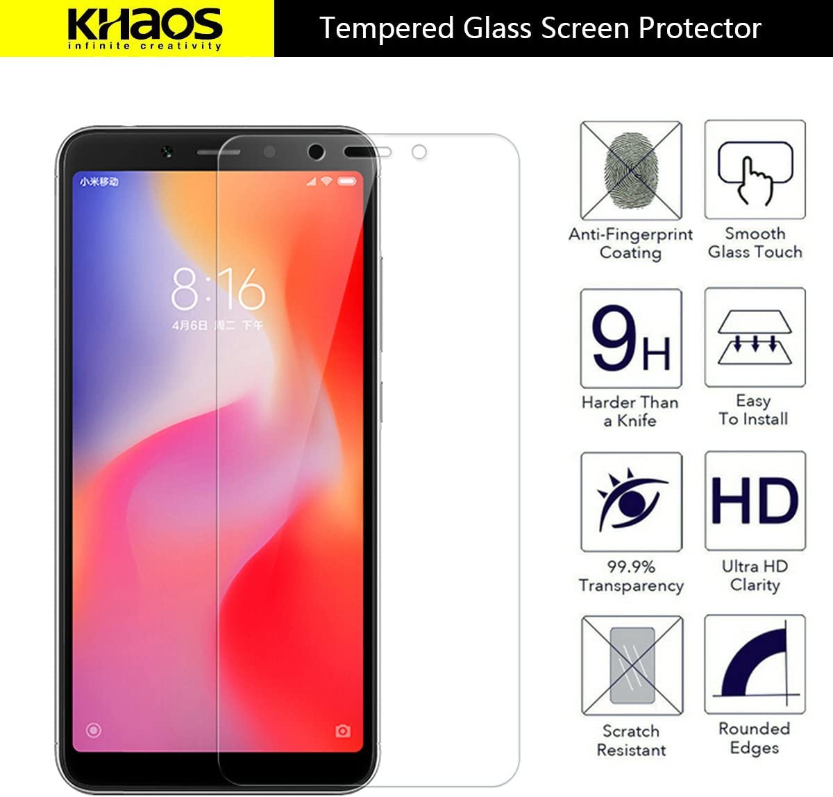 for Xiaomi Redmi 6A Screen Protector KHAOS Tempered Glass Screen Protector Ultra Clear Scratch Resistant for Xiaomi Redmi 6A 6-Pack