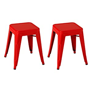 Norwood Commercial Furniture Tolix Style Metal Industrial Stack Stool, Red, NOR-IAH3021-RD-SO (Pack of 2)