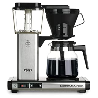 Technivorm Moccamaster KB741 10-Cup 40oz Handmade Coffee Brewer w/Glass Carafe (Brushed Silver)