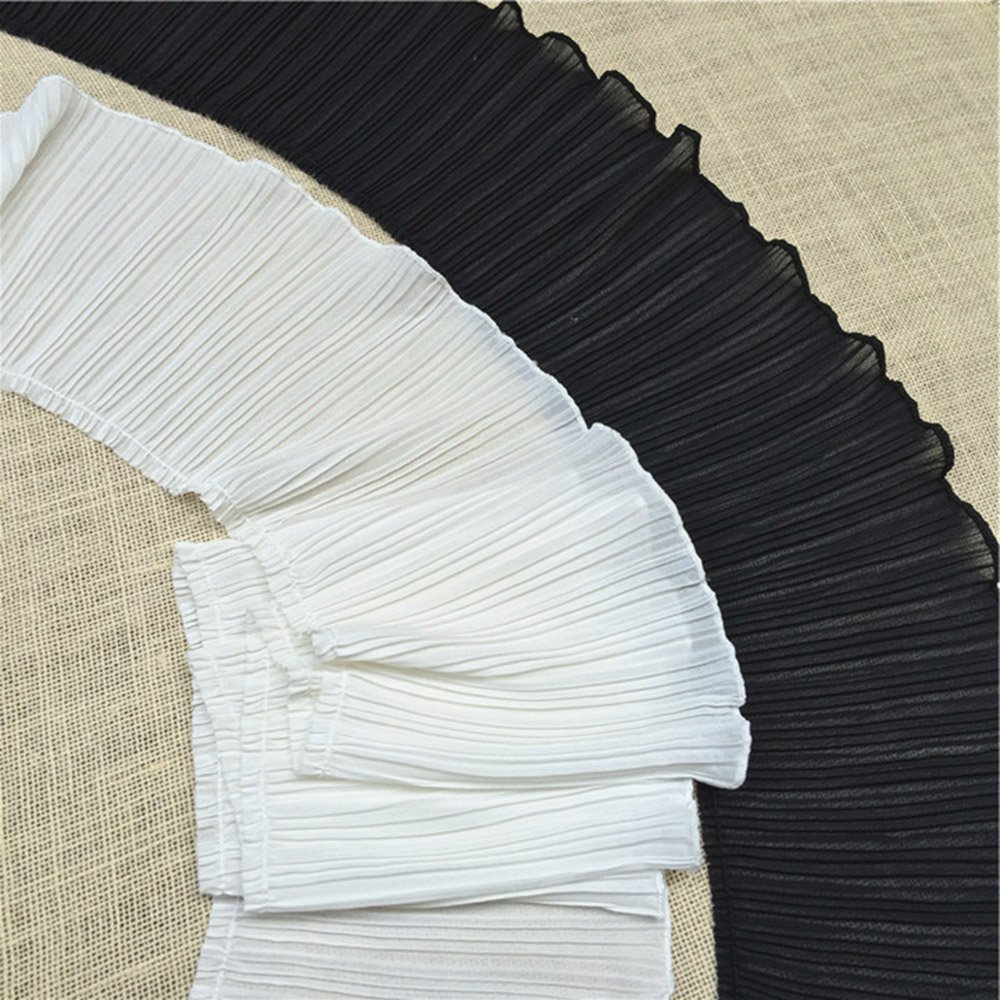 Black Wide Ruffled Lace Trims Chiffon Fabric Pleated Lac Trims for Garment Extender and Craft Sewing 6-1//2 Wide 2 Yards Lot