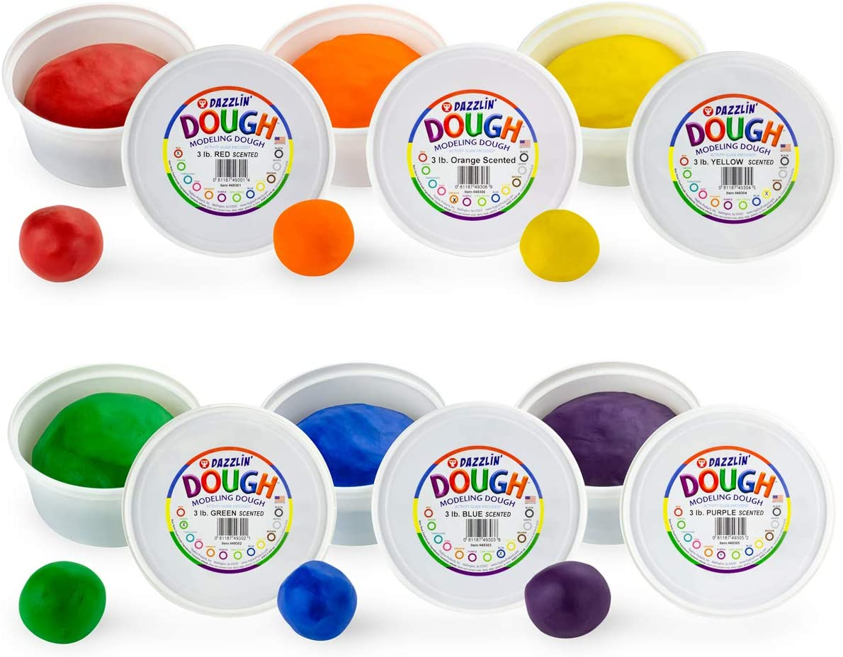 Hygloss Products Kids Scented Dazzlin' Modeling Play Dough, 3lb, One of Each Color, 6 Assorted Colors, 18 Pounds Total